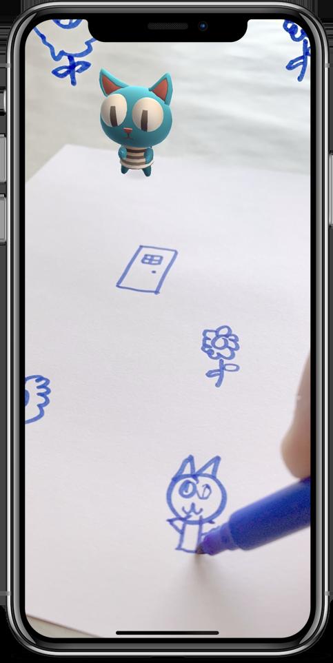 Hand draw Hako's portrait on a paper